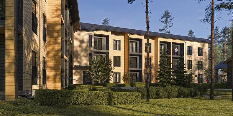 Two wooden apartment buildings are being built in Nöykkiönlaakso, Espoo.