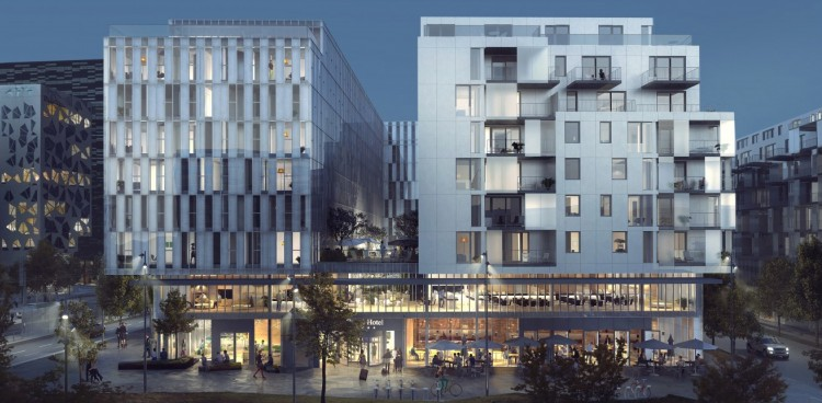 Skanska and HAV Eiendom will erect two buildings with hotel, retail space and apartments.