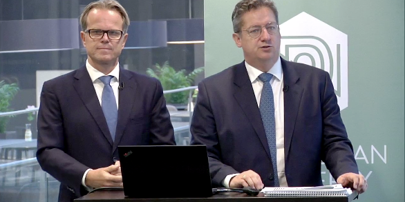 Haavard Rønning, CFO of Norwegian Property, and Bent Oustad, CEO, during this morning's Q3 presentation.