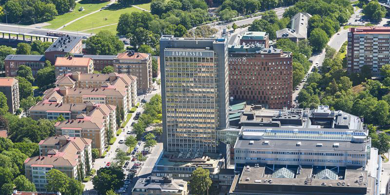 """The purchased object: The classic """"DN-skrapan"""", a newspaper building in central Stockholm."""